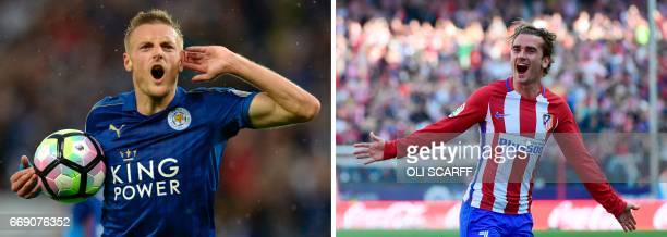 In a combination of pictures created in London on April 16 2017 Leicester City's English striker Jamie Vardy celebrates after scoring during the...