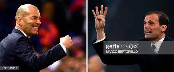In a combination of pictures created in London on May 31 2017 shows Real Madrid's French coach Zinedine Zidane gesturing during their UEFA Champions...