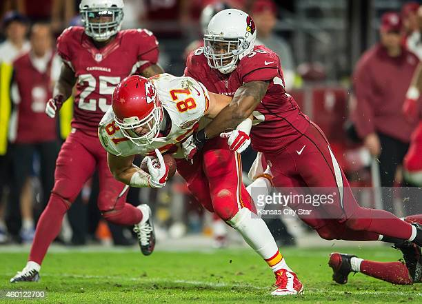 In a critical turnover in the fourth quarter Kansas City Chiefs tight end Travis Kelce is ruled to have fumbled in a tackle by Arizona Cardinals...