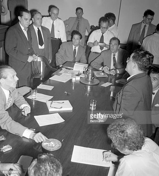 In a dramatic facetoface meeting Whittaker Chambers star witness for the House UnAmerican Activities Committee's Communist spy investigation...