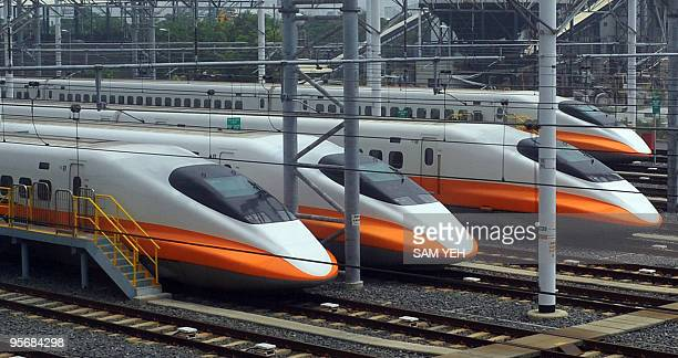 In a file picture taken on September 22 Trains of Taiwan's highspeed rail company sit idle at the platform at Zuoying station south of Kaohsiung city...