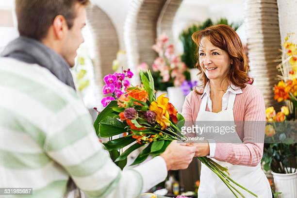 In a flower shop.