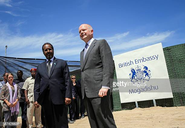 In a handout photograph taken and released by the African UnionUnited Nations Information Support Team on April 25 British Foreign Secretary William...