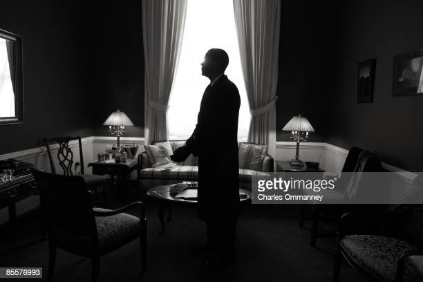 In a holding room at the Capital Barack H Obama has a moment alone to gather his thoughts before he is sworn in by Chief Justice John Roberts as the...