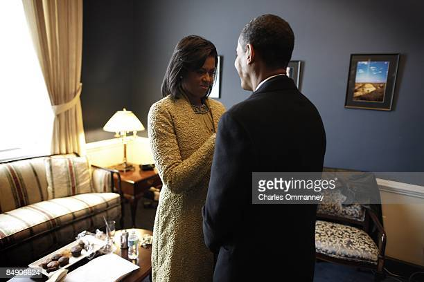 In a holding room at the Capital Barack H Obama spends a last couple of moments with his wife Michelle before he is sworn in by Chief Justice John...