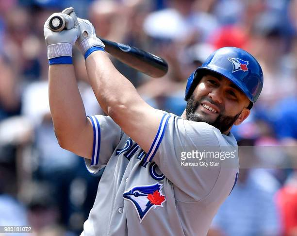 In a June 2017 file image the Toronto Blue Jays' Kendrys Morales during action against the Kansas City Royals at Kauffman Stadium in Kansas City Mo...
