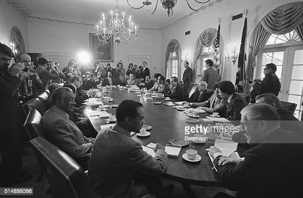 In a longdelayed meeting at the White House 12 black congressmen brought the problems facing 25 million black Americans directly to President Nixon...