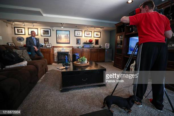 In a makeshift television studio WBALSports Anchor/Reporter Pete Gilbert records a standup report on the 2020 NFL Free Agency and the Baltimore...