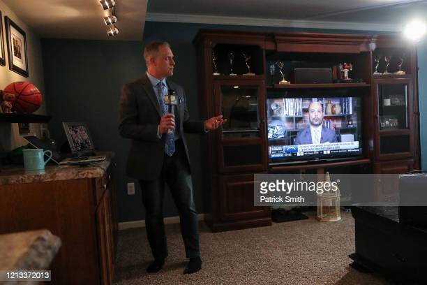 In a makeshift television studio WBALSports Anchor/Reporter Pete Gilbert prepares to record a standup report on the 2020 NFL Free Agency and the...