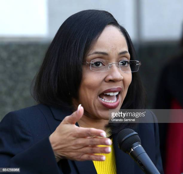 In a news conference on the steps of the Orange County Courthouse OrangeOsceola State Attorney Aramis Ayala announces that her office will no longer...