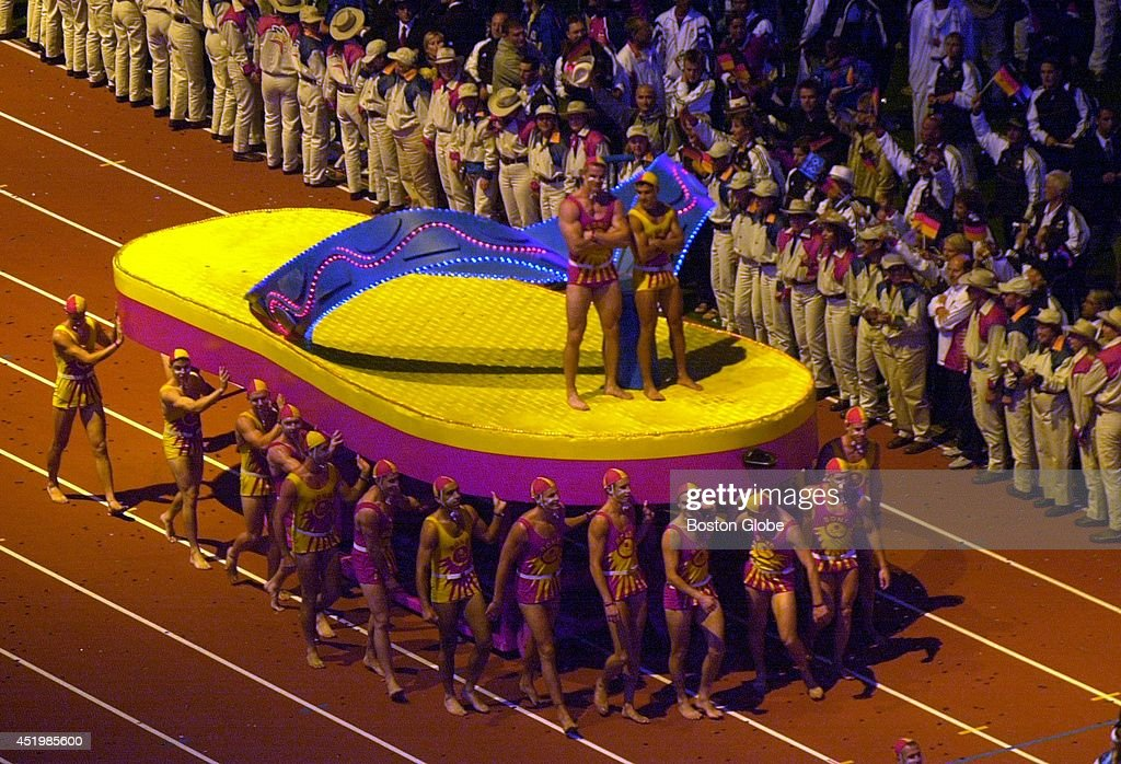 2000 Summer Olympics In Sydney1 Picture Embed EmbedLicence A Nod To Australias Famous Bondi Beach Giant Flip Flop Floats Down