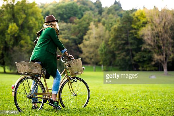 In a park with a bicycle