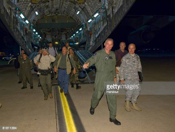 In a photo released by the the US Air Force Keith Stansell steps off the ramp of a C17 Globemaster III July 2 2008 at Lackland Air Force Base Texas...
