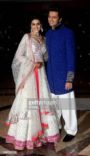 In A Photo Taken On January 31 Indian Bollywood Couple Ritesh Deshmukh With Genelia D