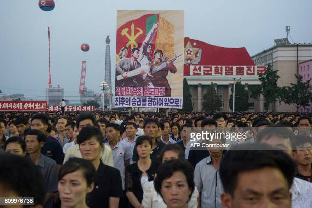 In a photo taken on July 6 2017 participants prepare to perform a mass dance event as part of celebrations marking the July 4 launch of the Hwasong14...