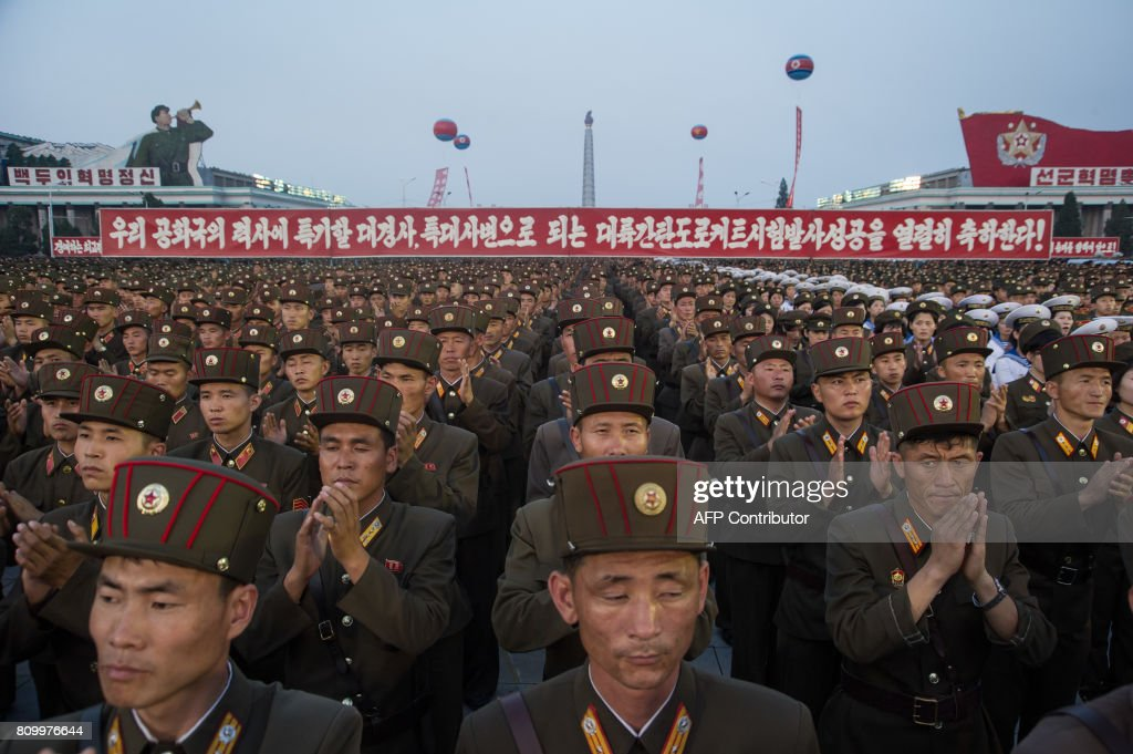 NKOREA-US-MISSILE-DIPLOMACY-CELEBRATION : News Photo