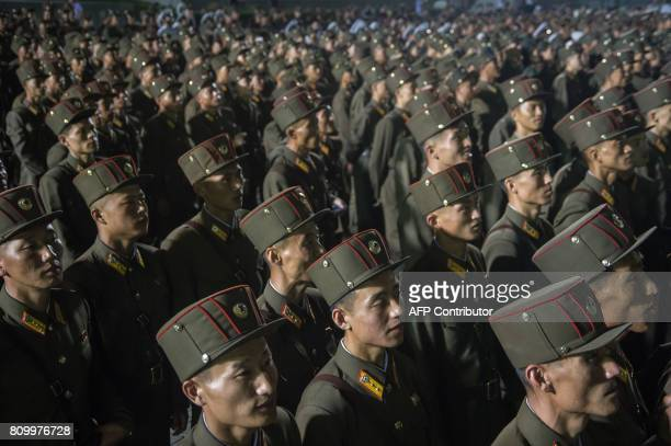In a photo taken on July 6 2017 soldiers of the Korean People's Army stand in formation during celebrations marking the July 4 launch of the...