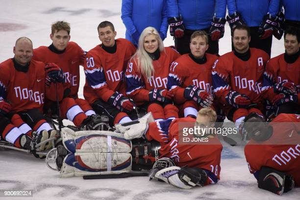In a photo taken on March 11 Paralympic ice hockey player Lena Schroeder of Norway attends a training session at the Gangneung Hockey Centre in...