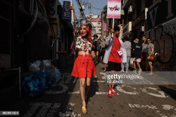 In a photo taken on May 26 2018 participants of the 'Seoul Drag Parade' march in the Itaewon district of Seoul South Korea held its first ever drag...