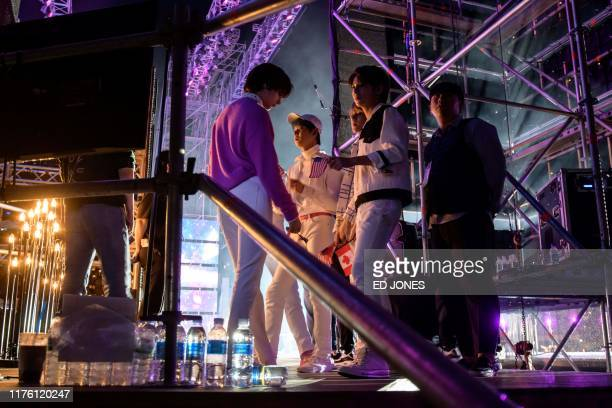 In a photo taken on October 11 a professional Kpop band prepare to enter the stage at the 'Kpop World Festival' in Changwon At the grandly titled and...