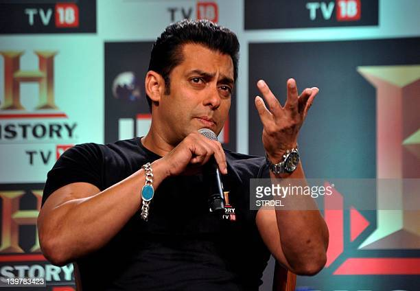 In a picture taken on February 24 Indian Bollywood actor Salman Khan speaks during a press conference of the 'HISTORY TV18's in Mumbai AFP PHOTO