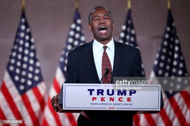 In a prerecorded address for the Republican National Convention released August 27 Housing and Urban Development Secretary Ben Carson speaks inside...