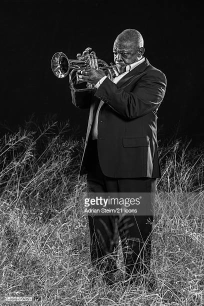 In a previously unreleased portrait 'African Jazz' Hugh Masekela is pictured on March 28 2013 in Bryanston Johannesburg as part of photographer and...