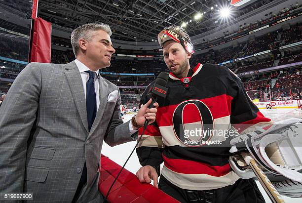 In a rare occurrence for a starting goaltender, Craig Anderson of the Ottawa Senators does an interview with TSN's Brent Wallace before a game...