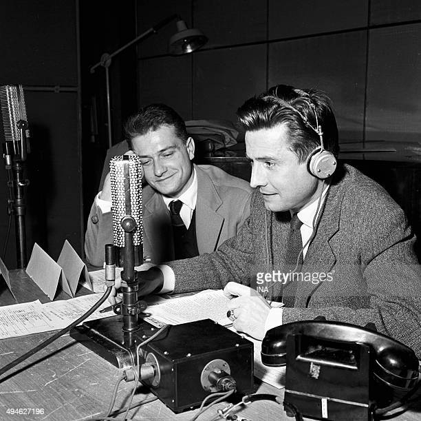 In a recording studio Jean Garetto and Maurice Cazeneuve headset on the head present a radio program