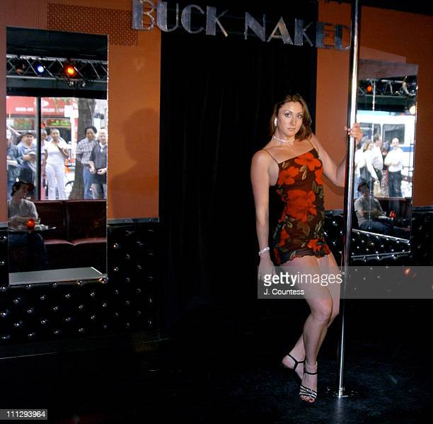 In a recreated scene from SCI Fi Channel miniseries 5ive Days To Midnight Emily Ann Turner dances onstage at the Buck Naked Strip Club