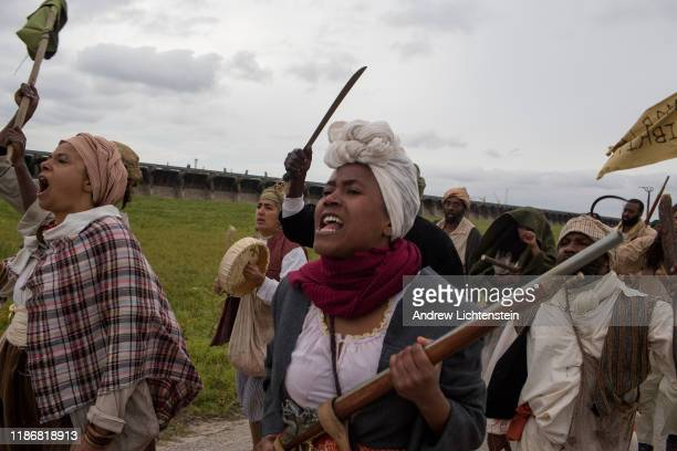 ST JOHN the BAPTIST PARISH LOUISIANA NOVEMBER 8 In a recreation of the 1811 German Coast slave rebellion reenactors march the original route along...