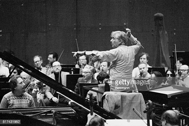 In a rehearsal at Avery Fisher Hall here, Leonard Bernstein conducts the Philharmonic Orchestra for the debut with an American orchestra of the...