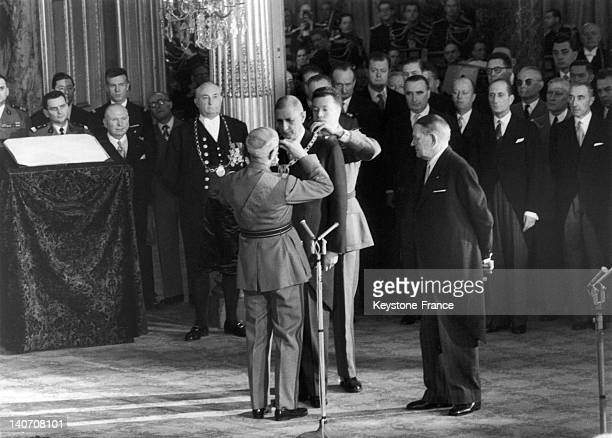 In a room of the Elysee Palace in Paris during the investiture ceremony of general De Gaulle as president of the republic on January 8 general...