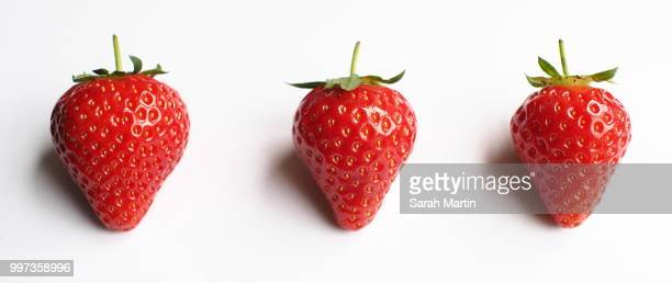 3 in a row - strawberry stock pictures, royalty-free photos & images