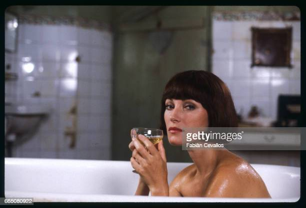 In a scene from the 1984 television movie The Sun Also Rises directed by James Goldstone actress Jane Seymour has a drink while taking a bath