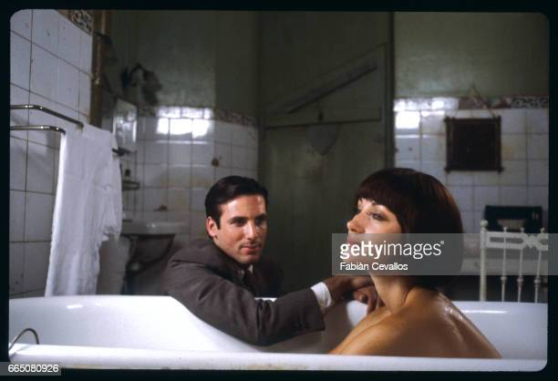 In a scene from the 1984 television movie The Sun Also Rises directed by James Goldstone actress Jane Seymour takes a bath while actor Hart Bochner...