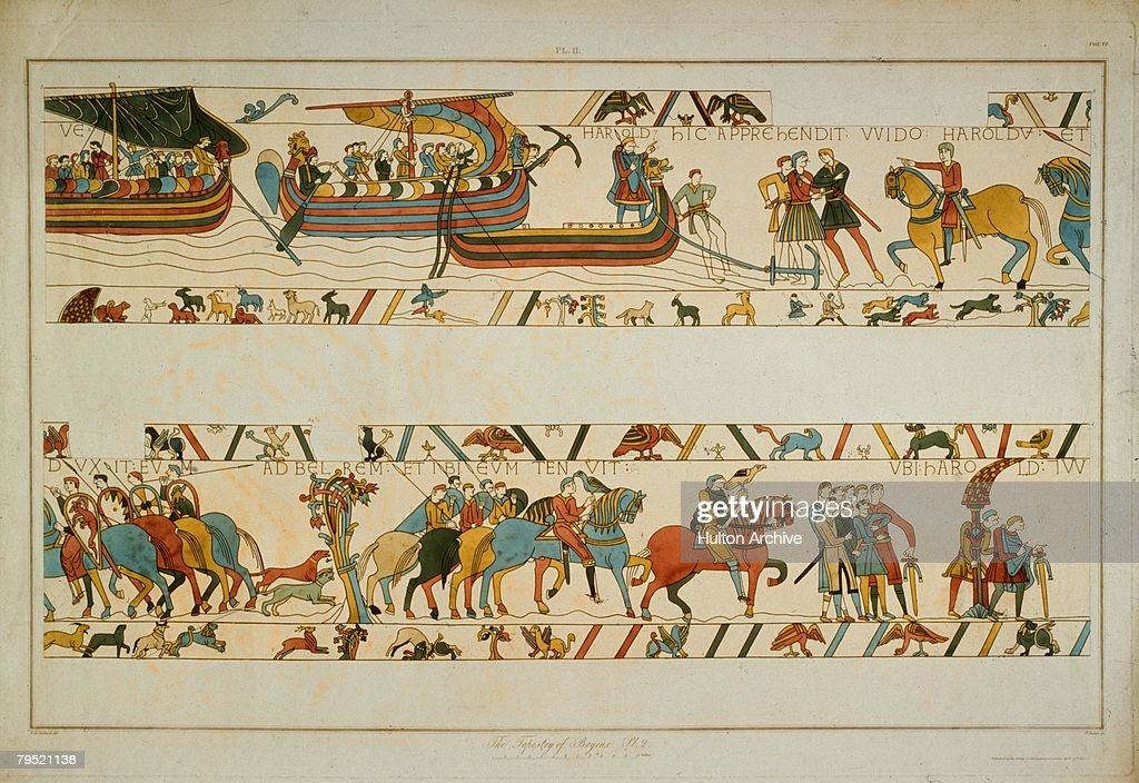 In a scene from the Bayeux Tapestry, the future King Harold II (c.1022 - 1066) lands at Ponthieu in Normandy and is taken prisoner by Count Guy of Ponthieu, 1064. The tapestry is housed in the town of Bayeux in Normandy.