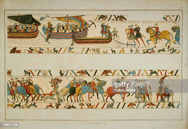 In a scene from the Bayeux Tapestry the future King Harold II lands at Ponthieu in Normandy and is taken prisoner by Count Guy of Ponthieu 1064 The...