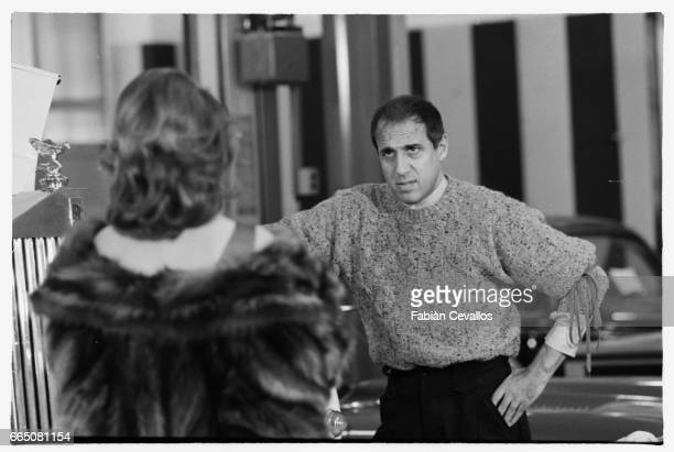 In a scene from the movie 'Lui e peggio di me' directed by Enrico Oldoini actor and singer Adriano Celentano talks to actress Kelly Van der Velden...