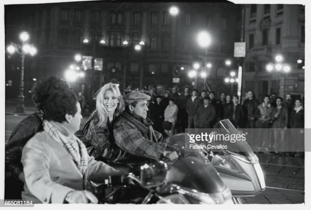 In a scene from the movie 'Lui e peggio di me' directed by Enrico Oldoini actor and singer Adriano Celentano and Renato Pozetto both ride motorcycles...