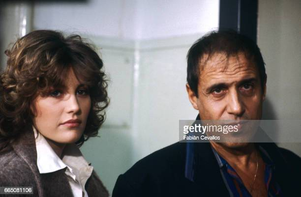 In a scene from the movie 'Lui e peggio di me' directed by Enrico Oldoini actors Kelly Van der Velden and Adrinao Celentano stand next to each other...