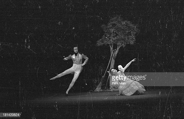 In a scene of mime and dance from Kurt Jooss' new ballet 'Company at the Manor' Armando the handsome Brazilian meets the country daughter in the...