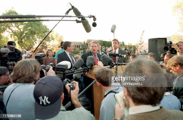 In a sea of media and microphones Boulder County District Attorney Alex Hunter announces that the grand jury for the JonBenet Ramsey murder...