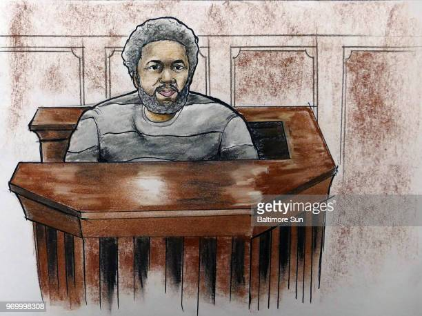 In a sketch from January 29 convicted officer Evodio Hendrix on the stand in the Gun Trace Task Force trial in Baltimore