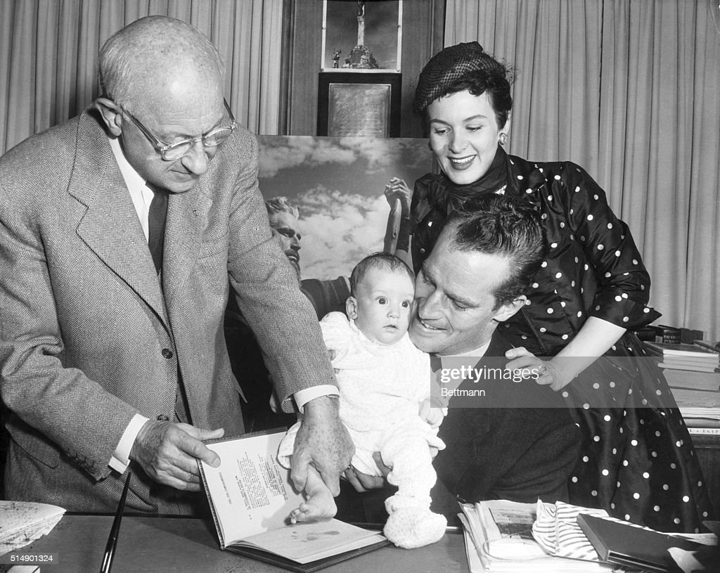 Cecil B. Demille with the Hestons : News Photo
