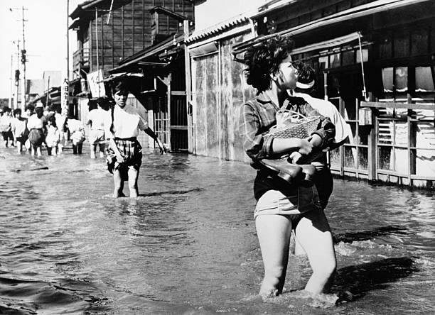 Aftermath Of Typhoon Vera In Tokyo In 1959 Wall Art