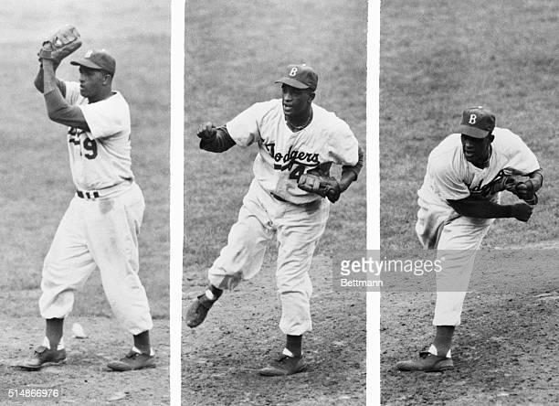 In a threeframe series Brooklyn Dodgers' pitcher Joe Black a rookie with the Dodgers but a veteran of the Negro Leagues pitches the ball from the...
