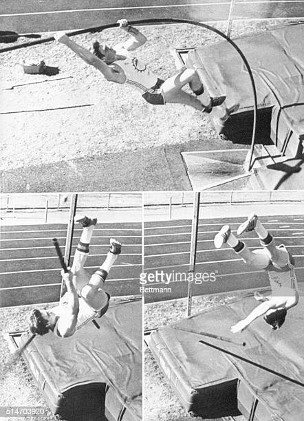 In a threephotograph sequence pole vaulter world indoor record holder Dan Ripley plants his pole extends his body and then falls to the mat as his...