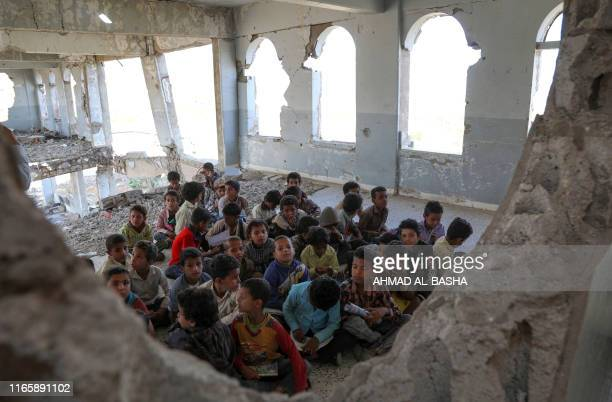 In a tour for the press organised by a damaged school in Yemen's third-city of Taez on September 3, 2019 to attract attention to their suffering,...