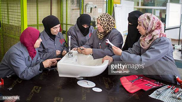 In a vocational school in the Jordanian Irbid Syrian refugees are trained as a plumber inside on April 04 2016 in Amman Irbid